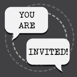 Text sign showing You Are Invited. Conceptual photo Receiving and invitation for an event Join us to celebrate.