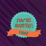 Text sign showing You Re Invited. Conceptual photo You are happily encouraged to attend and event or a party Blank Color. Text sign showing You Re Invited stock illustration