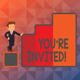 Text sign showing You Re Invited. Conceptual photo make a polite friendly request to someone go somewhere Happy. Text sign showing You Re Invited. Business photo vector illustration