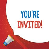 Text sign showing You Re Invited. Conceptual photo make a polite friendly request to someone go somewhere Huge Blank. Text sign showing You Re Invited. Business royalty free illustration