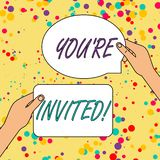 Text sign showing You Re Invited. Conceptual photo make a polite friendly request to someone go somewhere. Text sign showing You Re Invited. Business photo vector illustration
