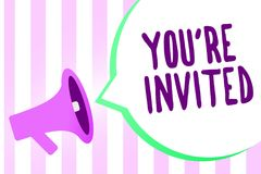 Text sign showing You re are Invited. Conceptual photo Please join us in our celebration Welcome Be a guest Megaphone loudspeaker. Stripes background important stock illustration