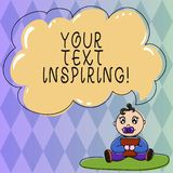 Text sign showing Your Text Inspiring. Conceptual photo words make you feel exciting and strongly enthusiastic Baby. Sitting on Rug with Pacifier Book and Blank royalty free illustration