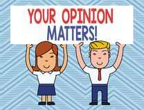 Text sign showing Your Opinion Matters. Conceptual photo show you do not agree with something that just been said Two. Text sign showing Your Opinion Matters vector illustration