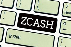 Text sign showing Zcash. Conceptual photo cryptocurrency with decentralized blockchain that provides anonymity.  royalty free stock photo