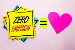 Text sign showing Zero Emission. Conceptual photo Engine Motor Energy Source that emits no waste products written on Yellow Sticky. Text sign showing Zero Royalty Free Stock Photography
