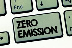 Text sign showing Zero Emission. Conceptual photo No harmful gas release to atmosphere Conserve the environment.  stock images