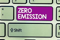 Text sign showing Zero Emission. Conceptual photo No harmful gas release to atmosphere Conserve the environment.  stock photos