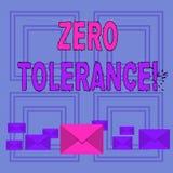 Text sign showing Zero Tolerance. Conceptual photo refusal accept antisocial behaviour typically by strict Pastel Color. Text sign showing Zero Tolerance stock illustration