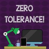 Text sign showing Zero Tolerance. Conceptual photo refusal to accept antisocial behaviour or improper behaviour. Text sign showing Zero Tolerance. Business photo stock illustration