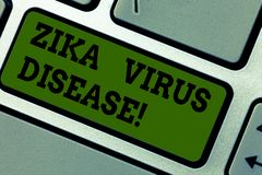 Text sign showing Zika Virus Disease. Conceptual photo transmitted primarily Aedes mosquitoes which bite Keyboard key stock images