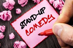 Text sign  Stand Up Comedy. Business concept for Entertainment Club Fun Show Comedian Night written Pin Sticky Note Paper Folded P. Text sign Stand Up Comedy Stock Photo