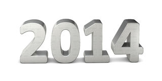 Text silver 2014 3D. New year text silver 2014 3D Royalty Free Stock Photos