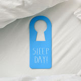 Text sleep day in a door hanger Royalty Free Stock Images