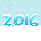 Text '2016' with snowfall on blue background Royalty Free Stock Image