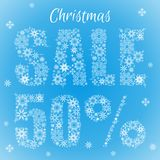 Text from snowflakes. Christmas sale 50 percent. Text from snowflakes on a blue background. Christmas sale 50 percent vector illustration
