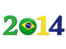 2014 text with soccer ball and Brazil flag Royalty Free Stock Photo