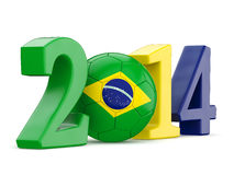2014 text with soccer ball and Brazil flag Stock Image