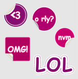Text Speak Stickers Royalty Free Stock Photography