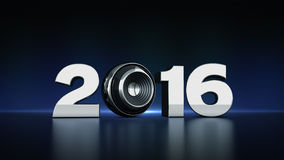 2016 text with sphere speaker 3D. 2016 text with sphere speaker - Design made in 3D Stock Photo