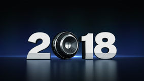 2018 text with sphere speaker 3D Royalty Free Stock Photos