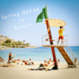 Text spring break is here Stock Photo