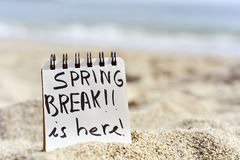 Text spring break is here in a notepad Royalty Free Stock Image
