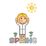 Text of Spring and happy girl and smiling sun Royalty Free Stock Images