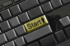 Text of start on computer keyboard for design. Text of start on computer keyboard for design in your concept of business design Stock Photography