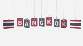 Flags of THAILAND and Bangkok text on hanging plates. 3D rendering stock illustration