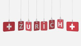 Hanging plates with flags of SWITZERLAND and Zurich caption. Conceptual 3D rendering vector illustration
