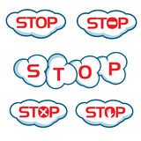 Text stop with clouds Stock Image