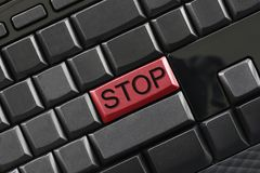 Text of STOP on computer keyboard. Text of STOP on computer keyboard for design in your concept of business design Royalty Free Stock Image