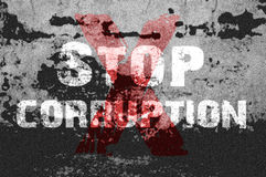 Text for Stop Corruption on grunge background Royalty Free Stock Image