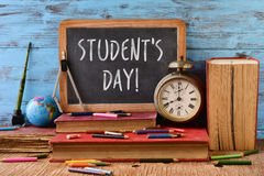 Text students day in a chalkboard Royalty Free Stock Photos