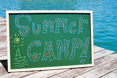 Text summer camp written in a chalkboard Stock Photography