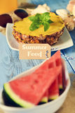 Text summer food, starfish, pineapple and watermelon Royalty Free Stock Images