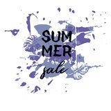 Text Summer Sale, discount banners.Grunge elements, ink drops, a. Bstract background. Vector illustration Royalty Free Illustration