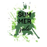 Text Summer Sale, discount banners.Grunge elements, ink drops, a. Bstract background. Vector illustration Stock Illustration