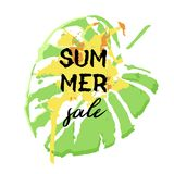 Text Summer Sale, discount banners.Palm leaves, grunge elements,. Ink drops, abstract background. Vector illustration Stock Illustration