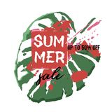 Text Summer Sale, discount banners.Palm leaves, grunge elements,. Ink drops, abstract background. Vector illustration Royalty Free Illustration