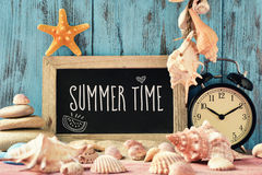 Text summer time in a chalkboard Royalty Free Stock Images