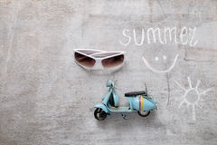 Text summer woodern old scooter Royalty Free Stock Images