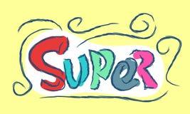 Text super cartoon hand drawn Stock Photo