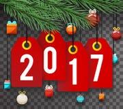 Text-Symbol-Aufkleber-Ikonen-Hintergrund des neuen Jahr-2017 Stockfotografie