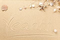 Text and symbols in the sand Royalty Free Stock Images