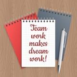 Text: team work makes dream Stock Photo