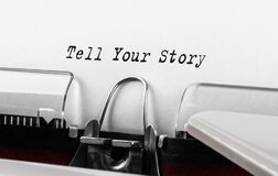 Free Text Tell Your Story Typed On Typewriter Stock Image - 197021291