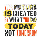 Text template for design Your future is created by what you do today, not tomorrow, Business Motivation Quote, Positive. Typography for poster, t-shirt or card Vector Illustration