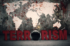 Text of terrorism with bloody map Royalty Free Stock Photography